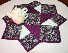 Star Table Topper | Purple Star Table Topper 24X24 by ShirleySewDesigns on Etsy