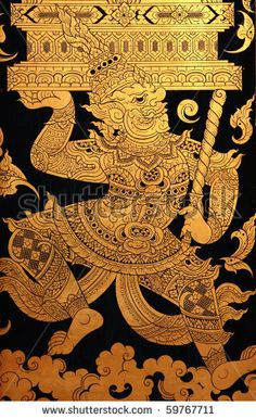 stock photo : giant in traditional thai style art painting at the door of temple.