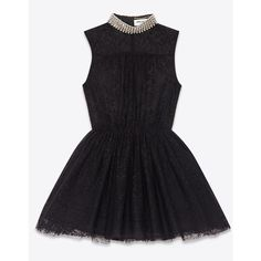 Saint Laurent Skater Dress In Black Lace ($5,290) ❤ liked on Polyvore featuring dresses, black, lace dress, black sleeveless dress, mini dress, skater dress and black cocktail dresses