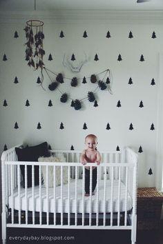 Vinyl Wall Sticker Decal Art - Pine Tree Pattern. nursery