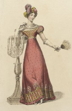 Fashion Plate (Full Dress), Rudolph Ackermann (England, London, 1 December English, hand-coloured engraving on paper. Pink Fashion, French Fashion, Fashion Prints, Fashion Art, Dress Fashion, Romantic Fashion, Jane Austen, Corsage, Victorian Fashion