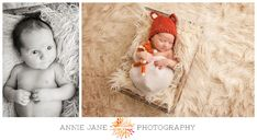 newborn baby session with fox hat and fox