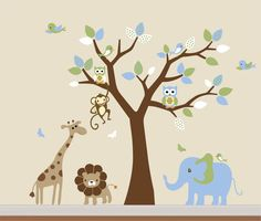 Kids Safari Nursery Jungle Wall Decal by NurseryWallArt on Etsy, $99.99