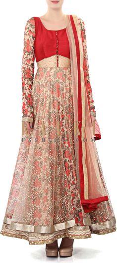 Buy Online from the link below. We ship worldwide (Free Shipping over US$100). Product SKU - 320084. Product Price - $359.00. Product Link - http://www.kalkifashion.com/cream-anarkali-suit-enhanced-in-floral-print-only-on-kalki-19825.html