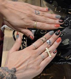Hot Nails #orange #grey #nails #nailart #nailpolish #naillacquer #nailpaint #polishaddict - bellashoot.com