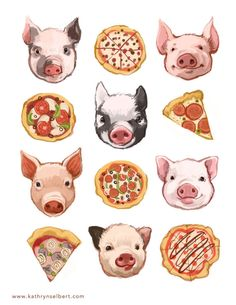 A super fun illustration of pigs and pizza. Crispy delicious pizza and cute baby pigs - why not! The printed image is in size. Illustration Mignonne, Pig Illustration, Food Illustrations, Cute Baby Pigs, Pig Art, Graphic, Fine Art Prints, Artsy, Kawaii