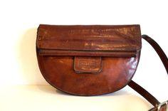 Brown Bag Purse Crossbody Bag Genuine Leather by vintagdesign