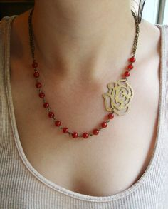 Rose Necklace in Antiqued Brass with Red Agate Beads #jewellery #jewelry
