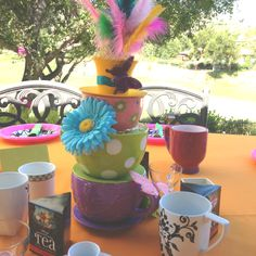 Centerpiece for my sisters mad hatter tea party.