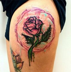 Beauty and the Beast tattoo. LOVE this watercolor!