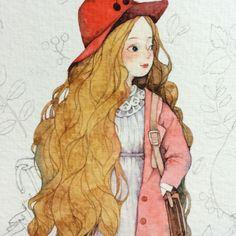 女孩头部过程图-那仁_插画,水彩,手绘,小清新,少女_涂鸦王国插画 Manga Anime, Anime Art, Pretty Art, Cute Art, Character Design Teen, Moss Art, Sketch Painting, Kawaii, Manga Drawing