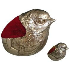 George V Novelty Antique Silver Hatching Chick Pin Cushion in Large Size | From a unique collection of antique and modern more antique and vintage finds at https://www.1stdibs.com/furniture/more-furniture-collectibles/more-antique-vintage-finds/