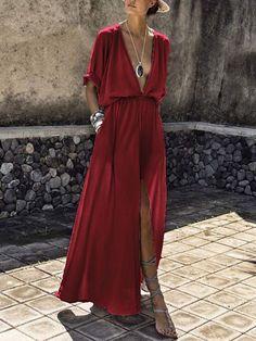 V-Neck Elastic Waist Plain Maxi Dress – Tokeeper Backless Maxi Dresses, White Maxi Dresses, Spring Dresses, Casual Dresses, Beautiful Dress Designs, Short Beach Dresses, Boho Fashion, Fashion Outfits, Style Fashion