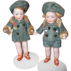 """Adorable 4"""" Little Bisque Twin Doll Set"""