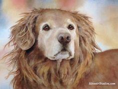 """Golden"", watercolor Golden Retriever dog painting by animal artist Teresa Silvestri.  Original sold, but fine art prints & cards available."