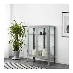 """IKEA """"FABRIKÖR"""" Glass-Door Display Cabinet in Gray, $170 --- New for Fall/Winter 2017. Product dimensions 31 and 7/8 inches wide by 44 and 1/2 inches tall. Also available in a navy blue color option."""