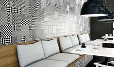 Modena B/N Tiles by Bestile. From in Spain +delivery Wall And Floor Tiles, Wall Tiles, Encaustic Tile, Spanish Tile, Vintage Tile, Floor Patterns, Kitchen Tiles, Interior Styling, Art Deco
