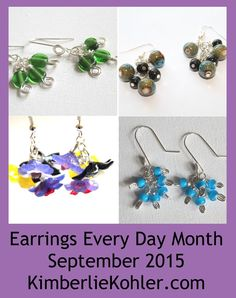 Learn how to get prepared for Earrings Every Day Month, including the tools and supplies you'll need, earring findings including links to tutorials to make your own earring findings Dangly Earrings, Drop Earrings, Earring Tutorial, How To Make Earrings, Beads And Wire, Jewelry Patterns, Beaded Jewelry, Day, Creative