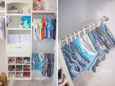 Brilliant! Shower curtain hooks to hang jeans in kids closet.