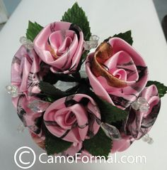 pink+camouflage+wedding+dress | Home / Wedding / Add To Your Dress / Camo Floral Bouquet, Small with ...