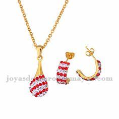 juego collar y aretes de cristal rojo y blanco brillo en acero dorado inoxidable…