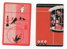 Vintage Playing Cards Art Deco Birds Parrots Two Singles | eBay