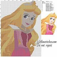 Beautiful princess disney Aurora cross stitch pattern 100x140 15 colors