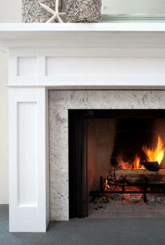 Mantel - white with light grey marble.