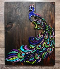 Custom ordered Peacock string art done on Dark Walnut wood String Art Diy, String Crafts, Resin Crafts, String Art Templates, String Art Patterns, Doily Patterns, Dress Patterns, Thread Art, Pin Art