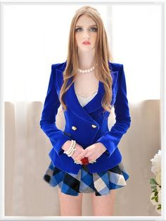 Morpheus Boutique  - Royal Blue Long Sleeve Double Breasted Shoulder Jacket