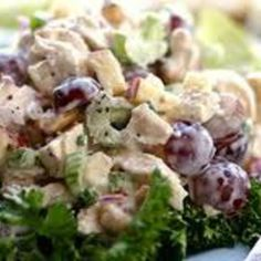 love making this chicken salad {I put it over salads, into wraps and sandwiches...or eat it plain + it's healthy too}