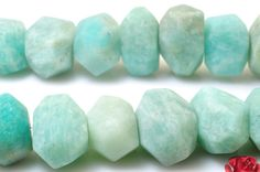 15 inches of Natural Amazonite matte faceted nugget beads in 8x11mm-10x16mm