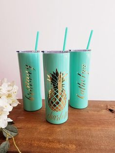 Pineapple Tumbler, gift for Her, Custom Gift Personalized Skinny Stainless Steel Cup, Monogram Pineapple Cup, Custom Pineapple Gifts Pineapple Tumbler, Pineapple Cup, Pineapple Gifts, Pineapple Ideas, Bridesmaid Boxes, Bridesmaid Gifts, Havanna Party, Customized Gifts, Personalized Gifts