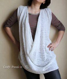 Loose Drapery Neck Top Knit Pattern