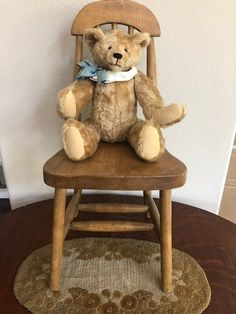 "Wooden Teddy Bear ornament 9/"" shabby vintage style handmade Gardener Bear"