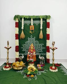 Our First is going to be so traditional with trials on full swing from our branches Decor by Haneesha… Housewarming Decorations, Diy Diwali Decorations, Home Wedding Decorations, Stage Decorations, Flower Decorations, Eco Friendly Ganpati Decoration, Ganpati Decoration Design, Kalash Decoration, Ganesh Chaturthi Decoration