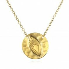 Feather Disc Necklace in Gold   Satya Jewelry