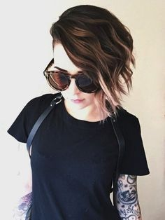 How To Style An Undercut: 5 Simple Ways — super cute shorter asymetrical bob with a slight ombre I really love her hair Trending Hairstyles, Pretty Hairstyles, Bob Hairstyles, Hairstyle Pics, Bob Haircuts, Beautiful Haircuts, Black Hairstyles, Medium Hair Styles, Short Hair Styles