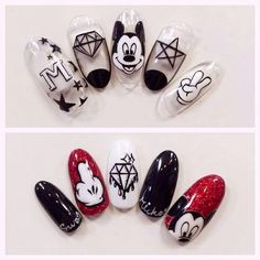 Nail art Christmas - the festive spirit on the nails. Over 70 creative ideas and tutorials - My Nails Coffen Nails, Nails 2018, Love Nails, Gorgeous Nails, Pretty Nails, Nail Art Disney, Disney Acrylic Nails, Minnie Mouse Nails, Mickey Mouse Nails