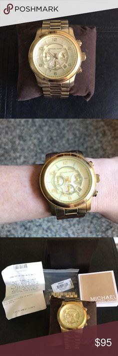 Michael Kors Gold Watch Gold Michael Kors large face watch. Purchased from Macy's, still have original receipt, tag, and everything it came with (box, pillow, manual). Had a few links taken out to fit my wrist, and kept extra links which can be added back in. I believe the watch needs new batteries. Photos showing light wear, reflected in the reduced price. Michael Kors Accessories Watches