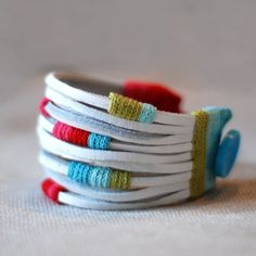 leather and cotton cuff by kjoo on Etsy