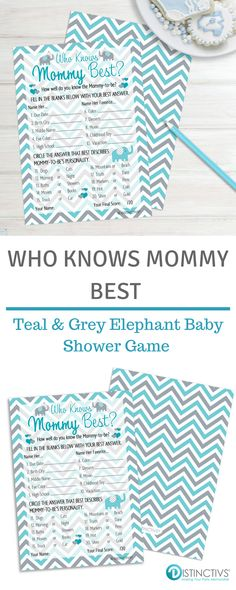 These Teal Blue and Grey Elephant and Chevron Themed Who Knows Mommy Best Game Cards are perfect for Boy Baby Showers. #boybabyshower #itsaboy #tealandgreybabyshower