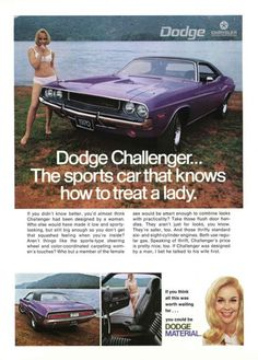 1970 Dodge Challenger ad, I'm going to recreate this ad with my 2013 Plum Crazy Purple Challenger. To include rewriting the text to reflect the current technology and equipment.