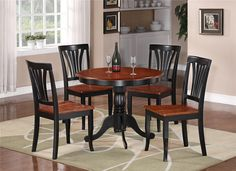painted kitchen tables and chairs | 5pc Round Table Dinette Kitchen Table 4 Chairs Black Saddle Brown ...