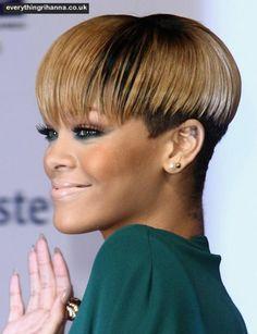 Rihanna Black Hair Short Bowl Cut Short Hair