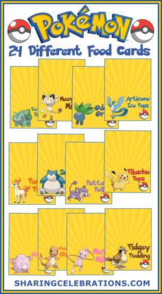 Pokemon Food Cards