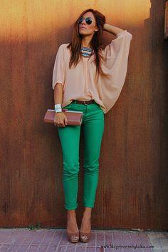 love the color of the pants! via kuka