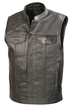 Large Leather Men's Club Style Motorcycle Vest Concealed Pocket Black #BikerZone