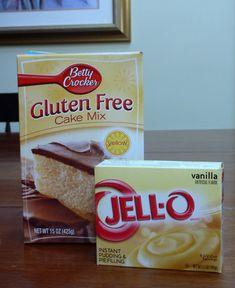 Betty Crocker Gluten Free Yellow Cake Mix and Jello Vanilla Pudding