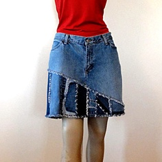 Items similar to Madison Short Jean Skirt - Strip Pieced Made to Order Short jean Skirt on Etsy Cute little jean skirt. I love the asymetrical look! Short Jean Skirt, Short Jeans, Denim Crafts, Old Jeans, Recycled Denim, Refashion, Diy Clothes, Denim Skirt, Paisley
